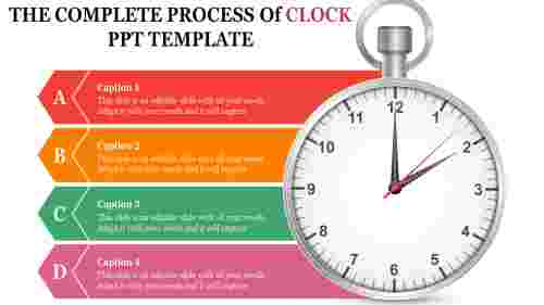 clock powerpoint template with chevron shapes
