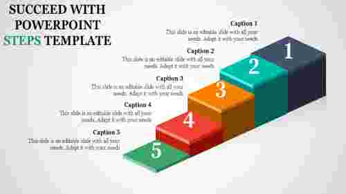 multi coloured  powerpoint steps template