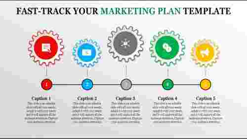 multi color marketing plan template - five gear wheel