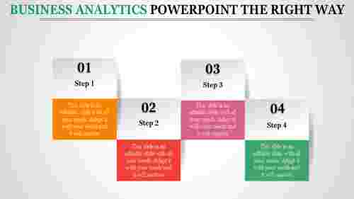business analytics powerpoint - four stage multi color