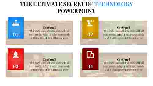 technology powerpoint templates  - four steps