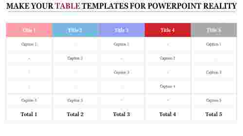 The Art Of Table Templates For Powerpoint