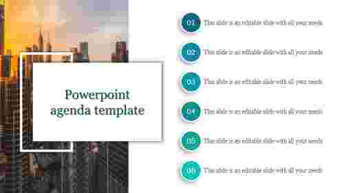 A six noded powerpoint agenda template