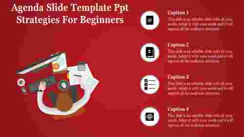 agenda slide template powerpoint - red background