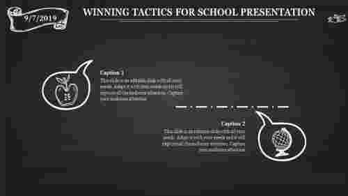 School presentation template with dark background