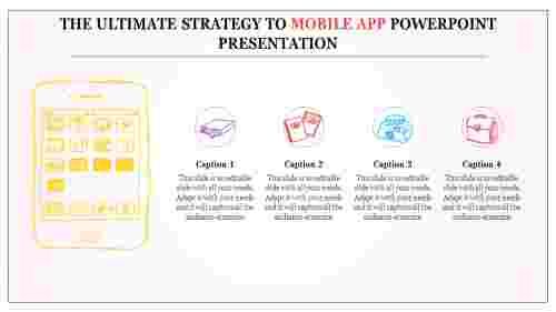 A four noded mobile app powerpoint presentation