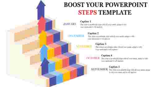 A five noded powerpoint steps template