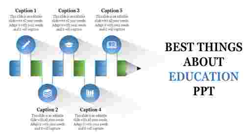 A five noded education PPT templates