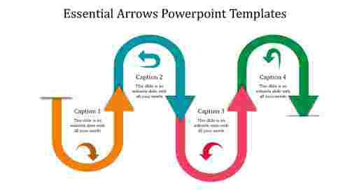U turned arrows powerpoint templates