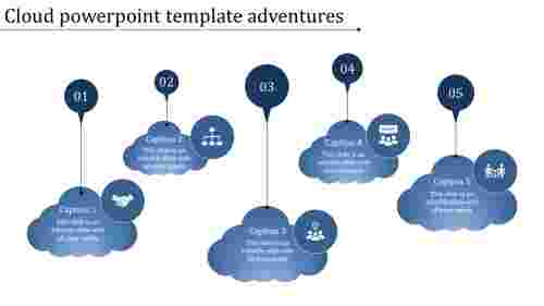 A five noded cloud powerpoint template