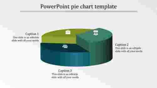 A three noded PowerPoint pie chart template