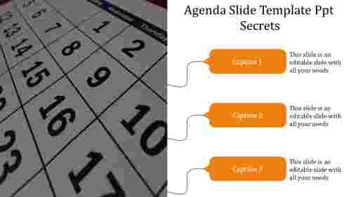A three noded agenda slide template PPT