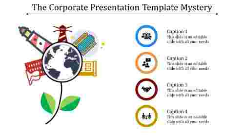 A four noded corporate presentation template