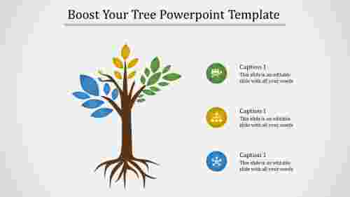A three noded tree powerpoint template