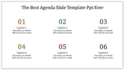 A six noded agenda slide template PPT