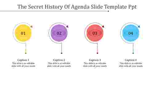 A four noded agenda slide template PPT