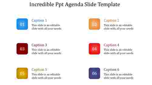 A six noded PPT agenda slide template
