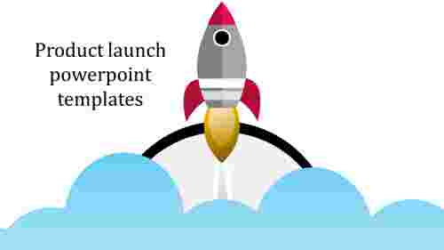 product launch powerpoint templates with rocket image
