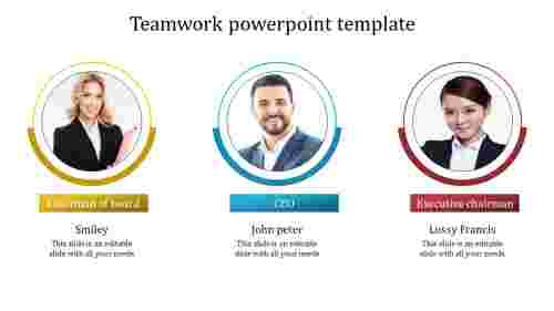 A three noded teamwork powerpoint template