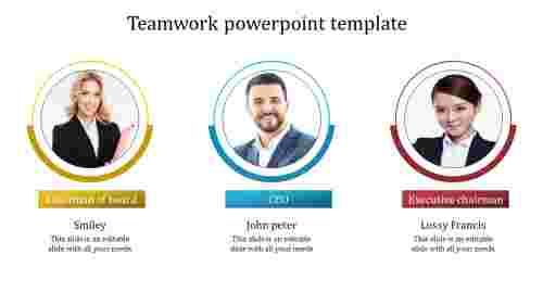 A three noded teamwork powerpoint template