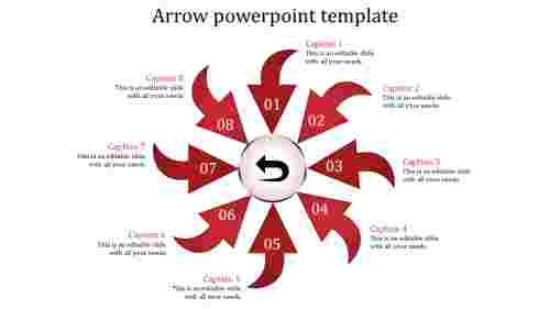 Arrows powerpoint templates in Four Positions