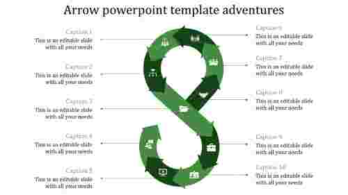 arrows powerpoint templates-Arrow powerpoint template adventures-green
