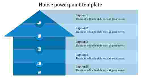 house powerpoint template-blue