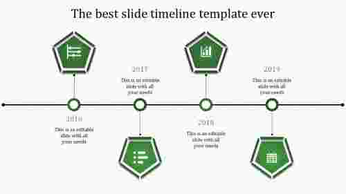 powerpoint with timeline-4-green