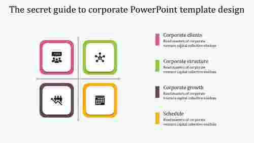 A four noded corporate powerpoint template design