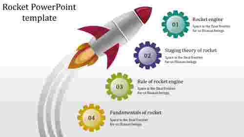 A four noded rocket powerpoint template
