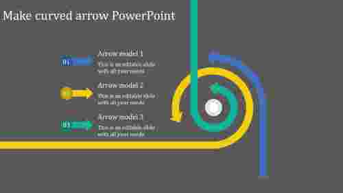 A three noded make curved arrow powerpoint