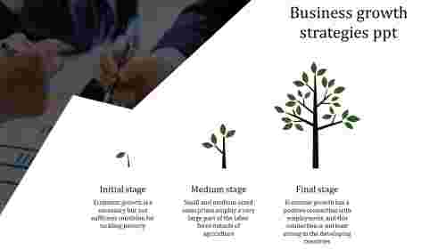 A three noded business growth strategies PPT