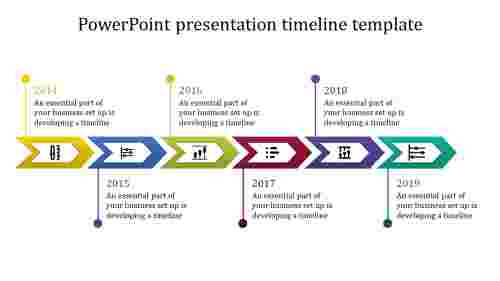 A six noded powerpoint presentation timeline template