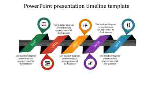 A five noded powerpoint presentation timeline template