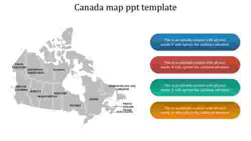 A four noded Canada map ppt template