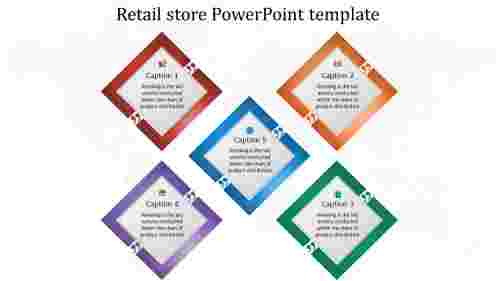 A five noded retail store powerpoint template