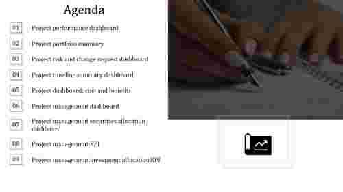 A nine noded PPT agenda slide template