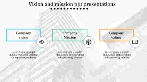 A three noded vision and mission PPT presentations