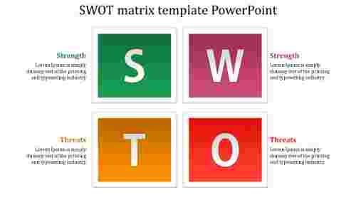 Plain SWOT matrix template PowerPoint