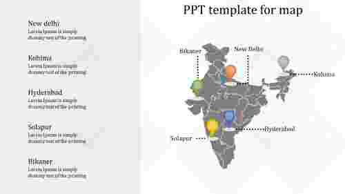 PPT template for map for India
