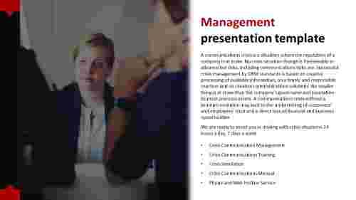 Company management presentation template