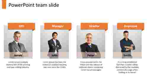A four noded powerpoint team slide