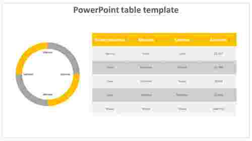 A six noded powerpoint table template