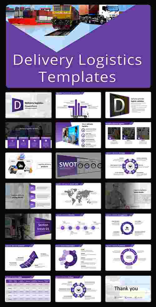 A sixteen noded Delivery logistics PPT template