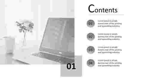 A four noded content slide template