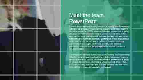 A one noded meet the team powerpoint template