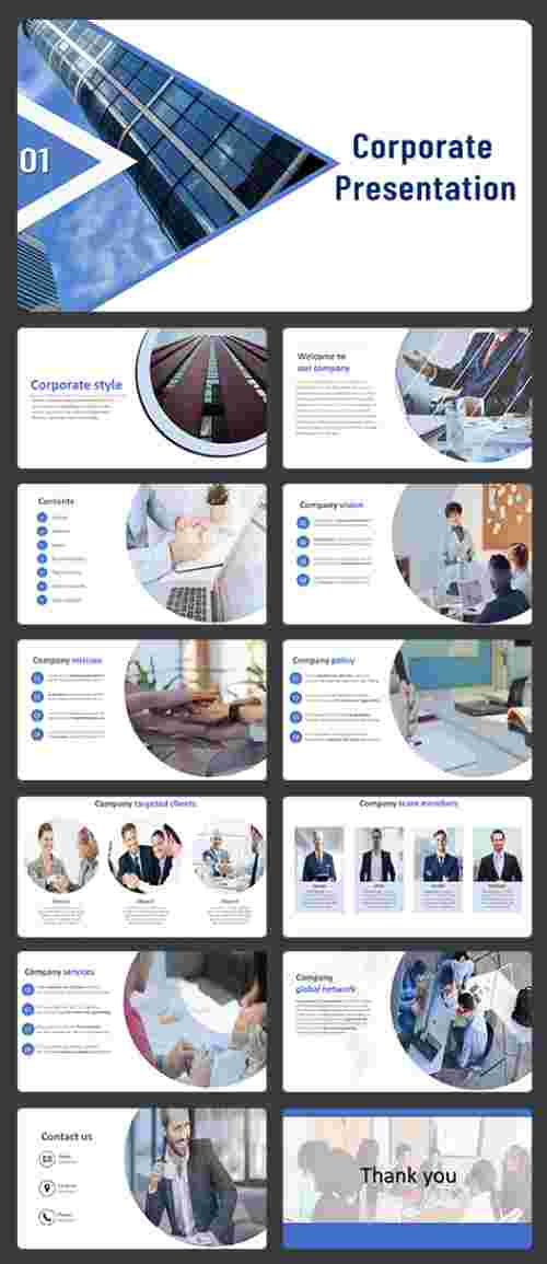 A twelve noded Corporate PowerPoint template