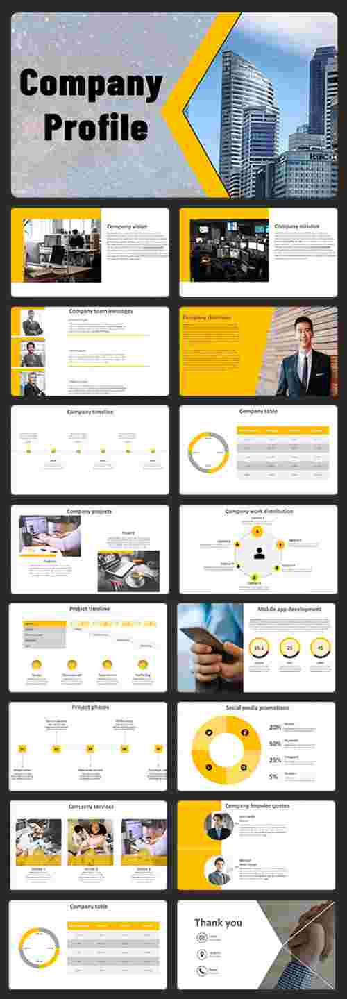 A sixteen noded Company profile PowerPoint template