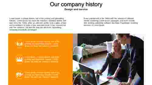 A four noded company history powerpoint template