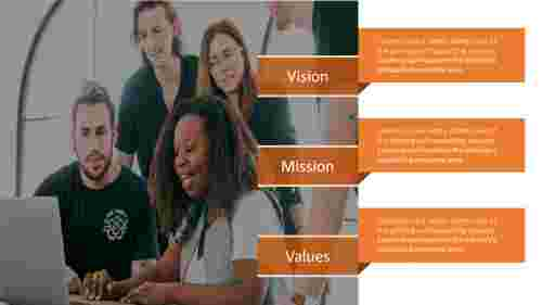A three noded vision and mission powerpoint templates
